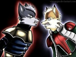 Fox versus Wolf by vixvargas