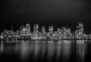 Downtown Vancouver BW by serban