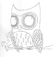 Owl LineArt by Quiliny