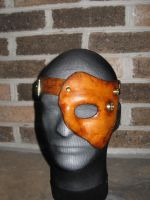 Leather and brass half mask by waywarddreams