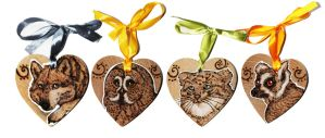Animal Heart Woodburnings by BumbleBeeFairy