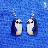 Adventure Time Gunther Earrings by TrollGirl