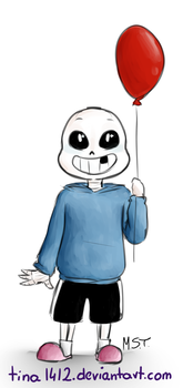 Little Sans and  balloon by tina1412