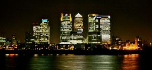Canary Wharf Night Panorama 2 by deppink