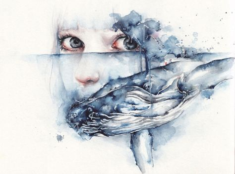 Watercolor whale by oksanadimitrenko
