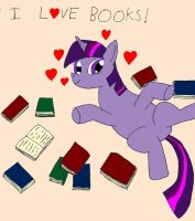 Twilight loves books - Digitally Coloured by IronBrony