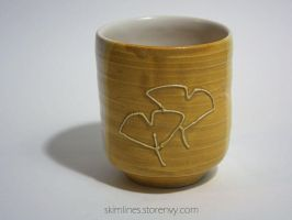 One Sided Ginkgo Tea Cup by skimlines