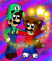 Collab: Luigi and Wolfie Mario by Kincello