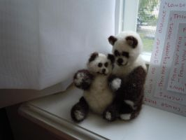 Needle-Felted Mama and Baby Panda by ShanSherazi