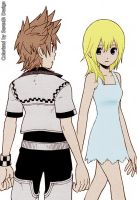 Roxas and Namine - Colorized - by Serexth