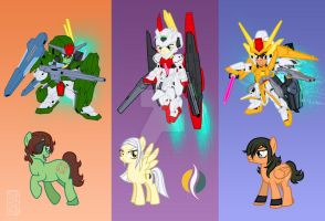 Gundam 00 Ponies 2- Allelujah Lockon and Soma by SapphireGamgee