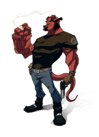 hellBoy smoking by yinfaowei