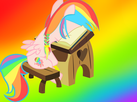 sweet rainbow hate studying by Moonlight-The-Pony