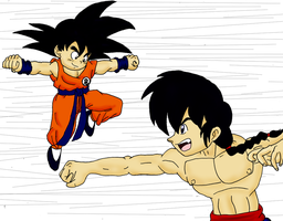 PhotoShop Test: Goku VS Ranma by sonigoku
