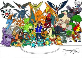 Ash's All Pokemon by samzkie29