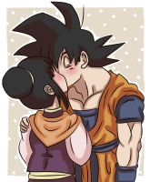 Goku and ChiChi kiss kiss by Beastwithaddittude