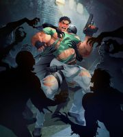Chris Redfield zombie attack by luxurisDA