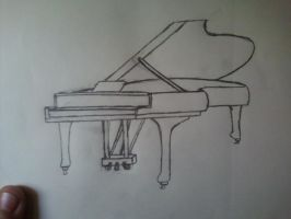 Grand Piano-Quick Sketch by WhiteRoseMarie