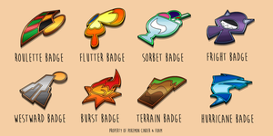 Estelia Gym Badges by Heavy-Metal-Lover