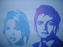 Tenth Doctor and Rose on my wall by Jen-Kitamura