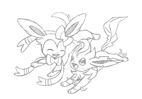 Art Trade- Sylveon and Leafeon (Sketch) by Bluekiss131