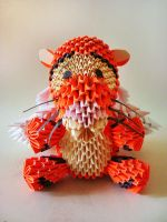 3D origami: Winged Tigger by Weezaround