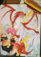 Natsu and igneel by MarybelDragneel