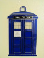 Doctor Who Stained Glass Tardis (white background) by captivefancy