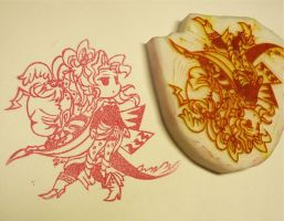 ff6 stamp -kefka and terra- by mukuuji