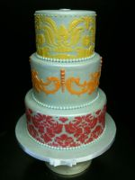 Stenciled Three Tiered Cake by Spudnuts