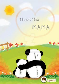 Greeting card - panda mom and kid by zabaroe