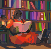 Pyro is reading by young-sinner
