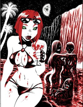 BLOODRAYNE swimsuit illo by AdamWarren