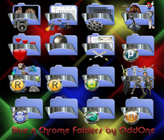 Blue Chrome folders by 0dd0ne