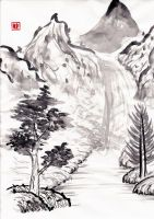 Mountains and waterfall by Atomicfrog83