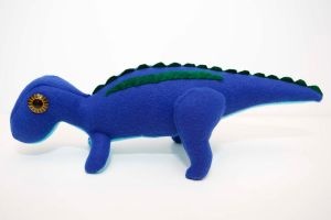 Baby Maiasaura in blue by Paleogirl