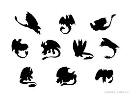 Toothless Silhouettes by AriellaMay