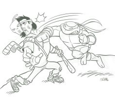 Raph Vs. Casey sketch. by scootah91