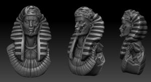 Egyptian statue- speedsculpt. by DeckardX08