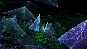 Neon Pyramid Landscape by crotafang