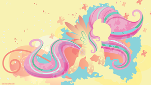 Rainbow Power Fluttershy Silhouette Wall by SpaceKitty