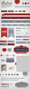 Retro Web Elements - Red and Grey Pack by gojol23