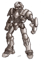 Armed Battlesuit - Pencil by Great-5
