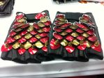 Red And Gold Scale Gloves by MetalArtisan