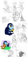 M.S. - A monster in paris sketch pile 2 by MelissaTheHedgehog