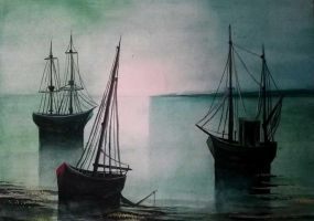 Watercolour. Ships by milesboard