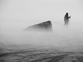 Foggy day at the beach by debugbytes