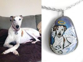 Custom Greyhound Pendant Necklace by sobeyondthis