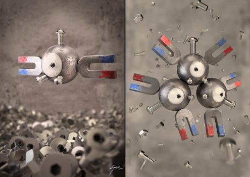 Magnemite - Magneton Collage by SaphireSouldier