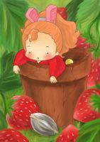 Flowerpot and strawberries by CyberSaku